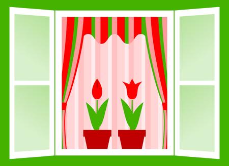 open window with flowers Vector
