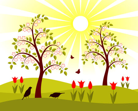flowering orchard Stock Vector - 8567625