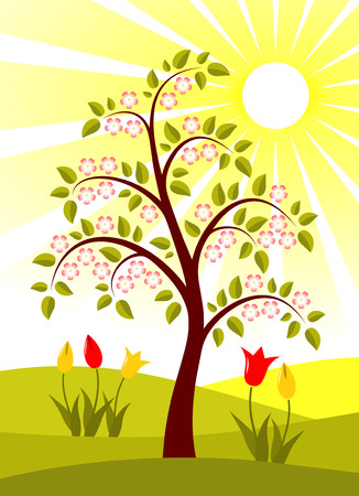 vector flowering tree and tulips Stock Vector - 8602202