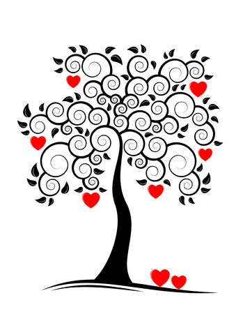 abstract heart tree on white background