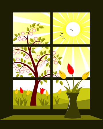vector spring landscape outside window Stock Vector - 8620757