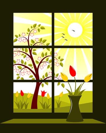 vector spring landscape outside window