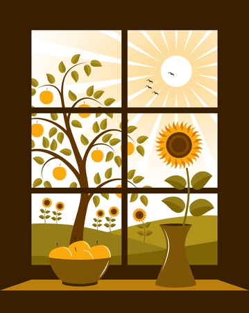vector summer rural landscape outside window