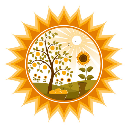 sunflower isolated: �rbol de manzanas de vector y girasoles en sun