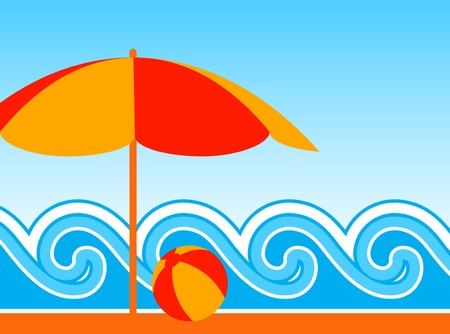 vector background with beach umbrella and waves Stock Vector - 8711212