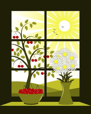 vector cherry tree outside window Vector