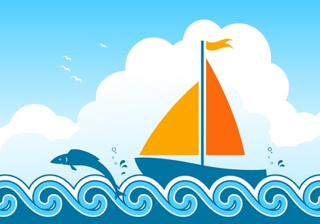 yellow boats: vector fish jumping around sailboat floating on sea