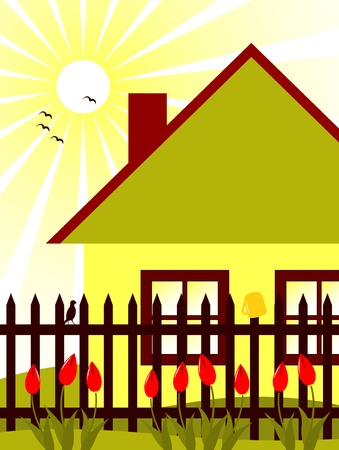 vector cottage and picket fence with tulips Vector