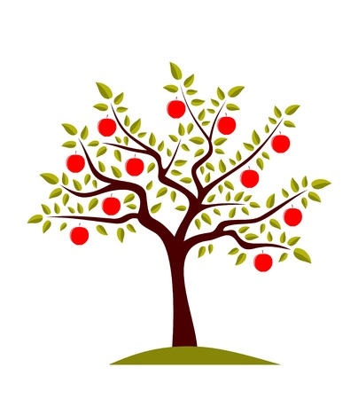 arbol de manzanas: Manzano vector sobre fondo blanco Vectores