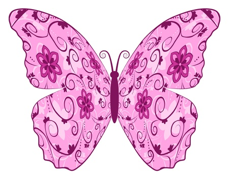vector butterfly with floral pattern on wings Vector