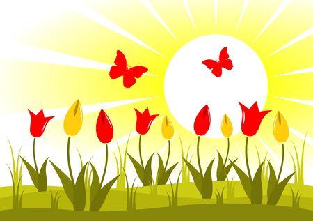 flowery: Prado de vector de tulipanes y mariposas