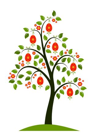 vector flowering tree with easter eggs Stock Vector - 8802025