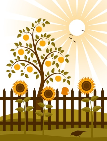 apple tree and picket fence with sunflowers Vector