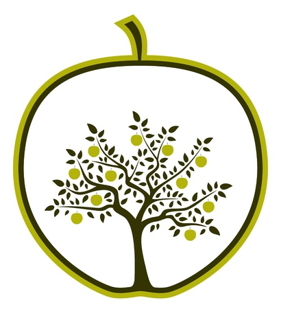 seasonal symbol: apple tree in apple on white background Illustration