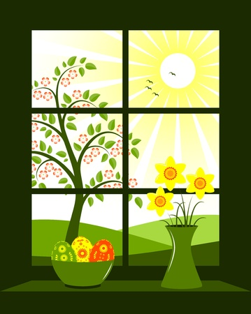 window view: easter eggs in bowl and bunch of daffodils in vase at window Illustration