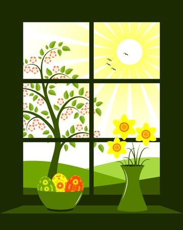 vista ventana: huevos de Pascua en bowl y mont�n de narcisos en florero en ventana Vectores