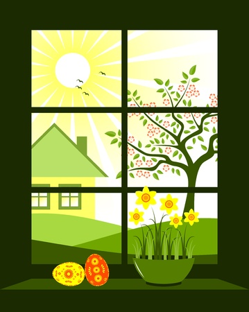 easter eggs and daffodils at window Stock Vector - 8976476