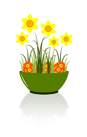 vector daffodils and easter eggs in bowl Stock Vector - 9059649