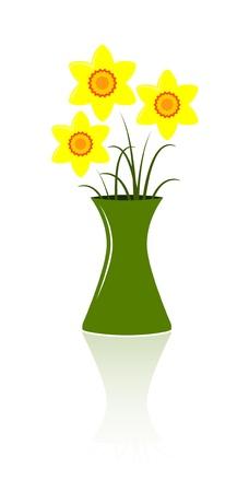 vector bunch of daffodils in vase Stock Vector - 9059648