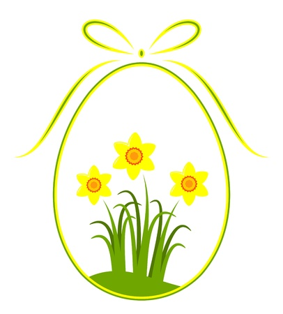 vector easter egg with daffodil decor Stock Vector - 9059655