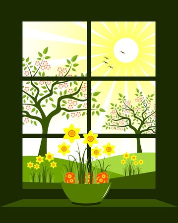easter eggs and daffodils in bowl at window Vector