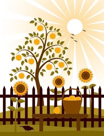 apple tree behind fence Stock Vector - 9123415