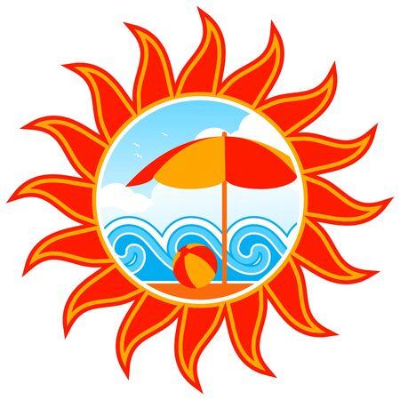 beach scene in sun Stock Vector - 9123414