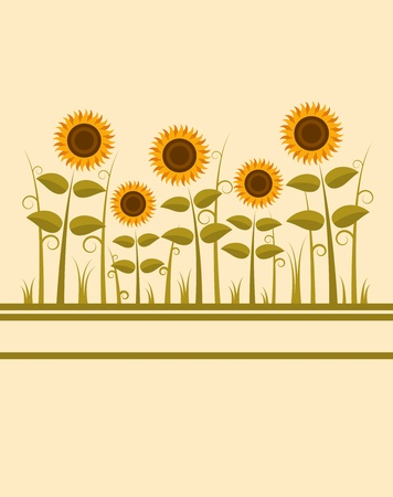 background with abstract sunflowers Vector