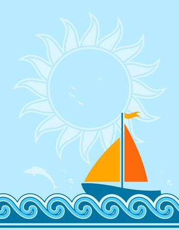 background with sailboat floating on sea Vector