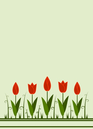 vector background with abstract tulips Vector