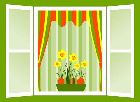window open: Abrir ventana con narcisos y huevos de Pascua en Bol