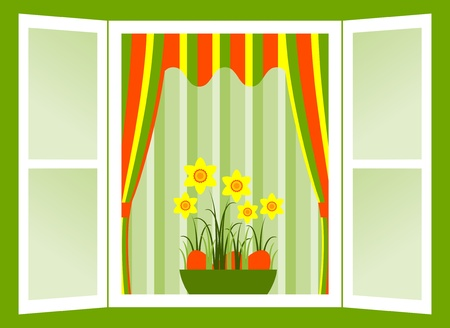 open window with daffodils and easter eggs in bowl Stock Vector - 9168933