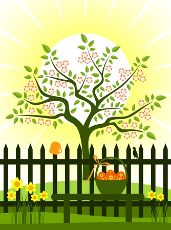 flowering tree and picket fence with daffodils and easter eggs in basket on bench Stock Vector - 9168932