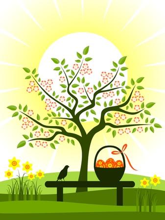 garden bench: easter scene Illustration
