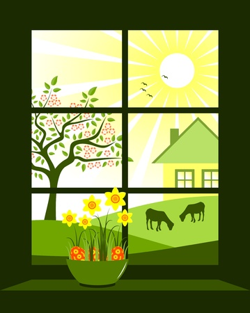 easter eggs and daffodils at window Vector