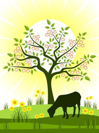 flowering tree, daffodils and grazing goat Vector