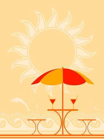 background with beach umbrella and drinks on table