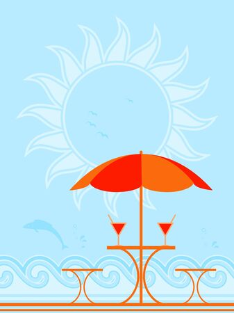 background with beach umbrella and drinks on table Stock Vector - 9315497