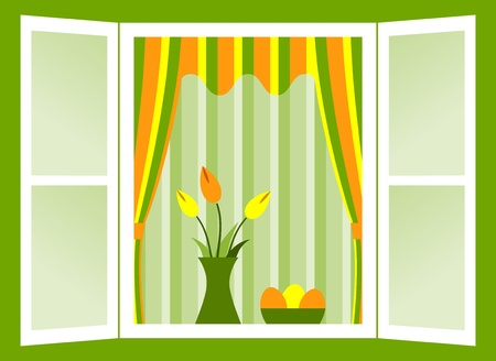 open window with bunch of tulips and easter eggs in bowl Vector