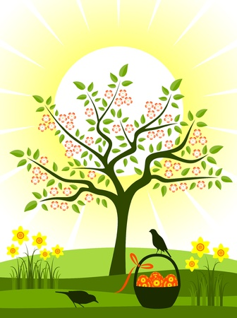 flowering tree, daffodils and easter eggs in basket Illustration