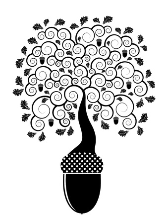 abstract oak tree growing from acorn Vector