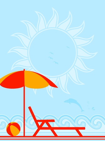 background with deck chair under umbrella on the beach Illustration