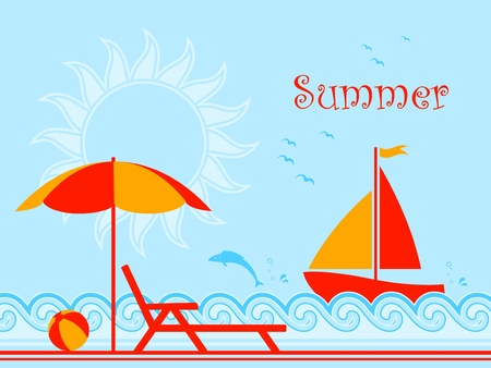 background with summer scene on the beach Stock Vector - 9418946