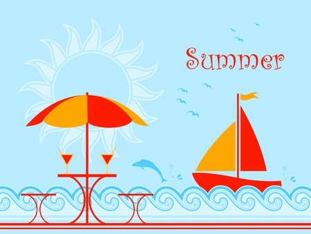 summer drink: background with summer scene on the beach