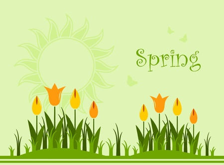 sun bed: spring background