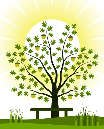 oak tree and bench Vector