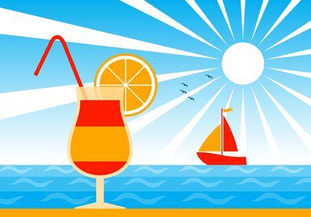 cocktail on beach Stock Vector - 9604214