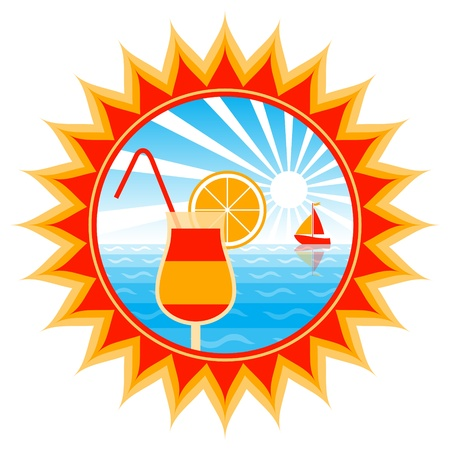 seasonal symbol: cocktail and sailboat in sun Illustration