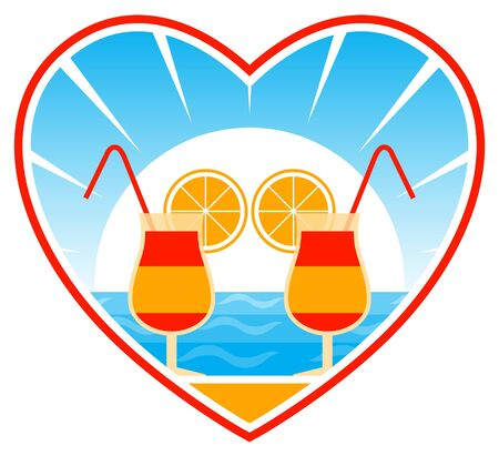 cocktails on the beach in heart Stock Vector - 9632505