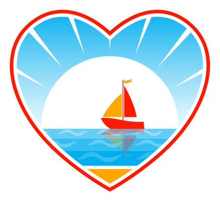 sailboat floating on sea in heart Vector